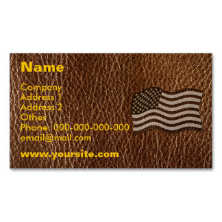 Leather-Look USA Flag Magnetic Business Cards (Pack Of 25)