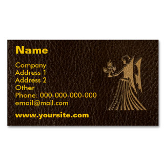 Leather-Look Virgo Business Card Magnet