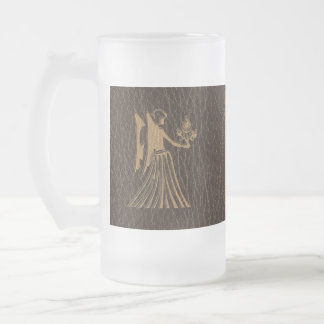 Leather-Look Virgo Frosted Glass Beer Mug