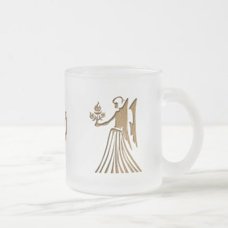 Leather-Look Virgo Frosted Glass Coffee Mug