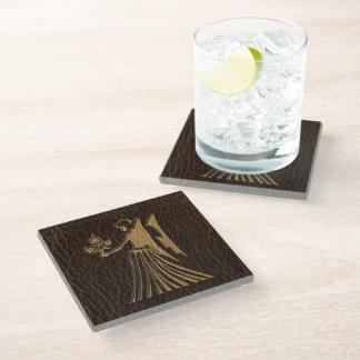 Leather-Look Virgo Glass Coaster