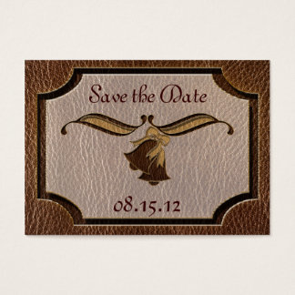 Leather-Look Wedding Business Card