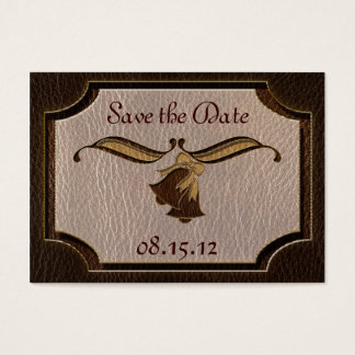 Leather-Look Wedding Dark Business Card