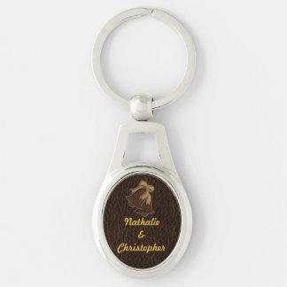 Leather-Look Wedding Dark Keychain