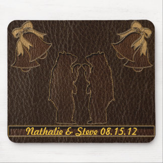 Leather-Look Wedding Dark Mouse Pad
