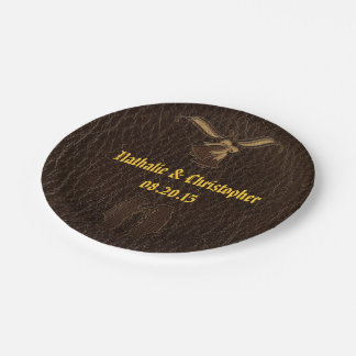 Leather-Look Wedding Dark Paper Plate