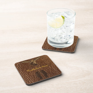 Leather-Look Wedding Drink Coaster