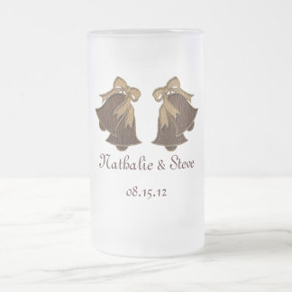 Leather-Look Wedding Frosted Glass Beer Mug