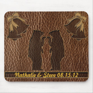 Leather-Look Wedding Mouse Pad