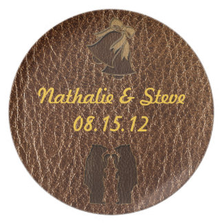 Leather-Look Wedding Plate