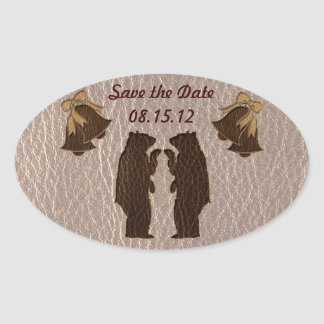 Leather-Look Wedding Soft Oval Sticker
