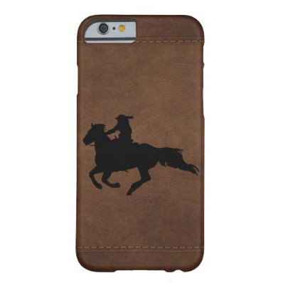 Leather-look Western Rodeo Galloping Horse Rider Barely There iPhone 6 Case