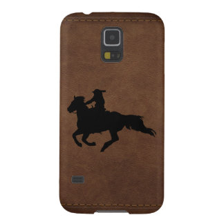 Leather-look Western Rodeo Galloping Horse Rider Galaxy S5 Cover