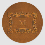 Leather look with customizable Monogram Classic Round Sticker