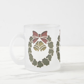 Leather-Look Wreath Frosted Glass Coffee Mug