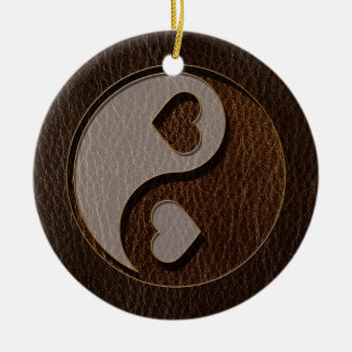 Leather-Look Yin Yang Heart Dark Ceramic Ornament