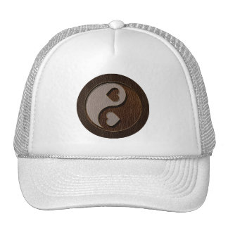 Leather-Look Yin Yang Heart Dark Trucker Hat