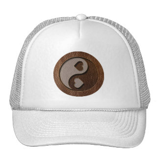 Leather-Look Yin Yang Heart Trucker Hat