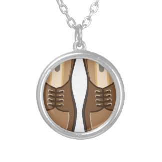 Leather Man's shoes Round Pendant Necklace