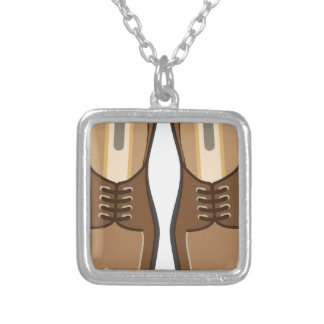 Leather Man's shoes Square Pendant Necklace