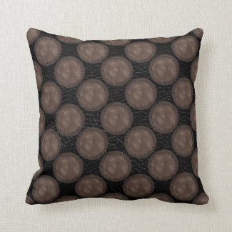 Leather Medallion Throw Pillow, Black and Brown Throw Pillow