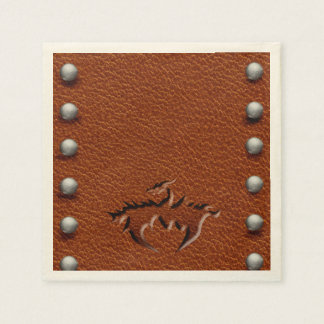 leather medieval dragon napkin brown standard cocktail napkin