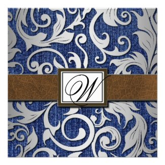 Leather Monogram Denim Western Wedding Invitations
