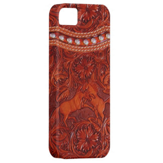 leather mustangs with silver beading iphone case iPhone 5 case
