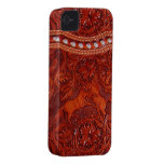 leather mustangs with silver beading iphone case Case-Mate iPhone 4 cases