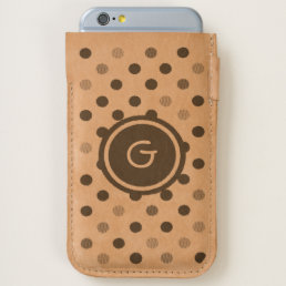 Leather personal dots print iPhone pouch