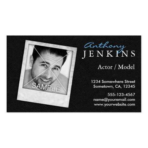 Leather Polaroid Frame Actor Business Cards