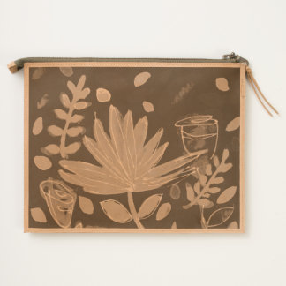 Leather pouch with palm frond design