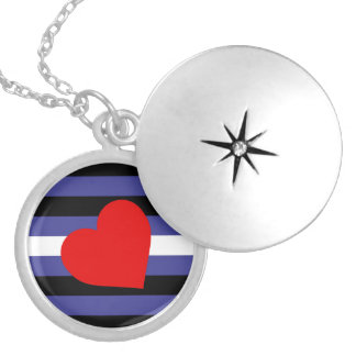 Leather Pride Flag Silver Plated Necklace