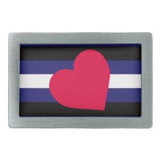 LEATHER PRIDE FLAG STRIPES DESIGN RECTANGULAR BELT BUCKLE