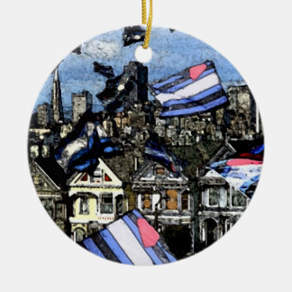 Leather Pride Flags Over San Francisco Ceramic Ornament