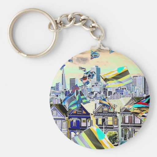Leather Pride Flags Over San Francisco Key Chain