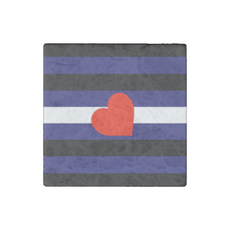 LEATHER PRIDE STRIPED HEART HORIZONTAL - 2014 PRID STONE MAGNET