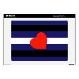 LEATHER PRIDE STRIPED HEART HORIZONTAL - 2014 PRID ACER CHROMEBOOK SKIN