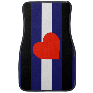LEATHER PRIDE STRIPED HEART VERTICAL - 2014 PRIDE. CAR FLOOR MAT