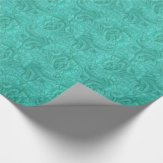 Leather Print Turquoise Western Tooled Leather Wrapping Paper