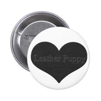 Leather Puppy Pinback Button