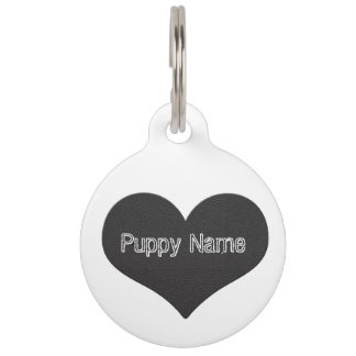 Leather Puppy Pet Name Tag