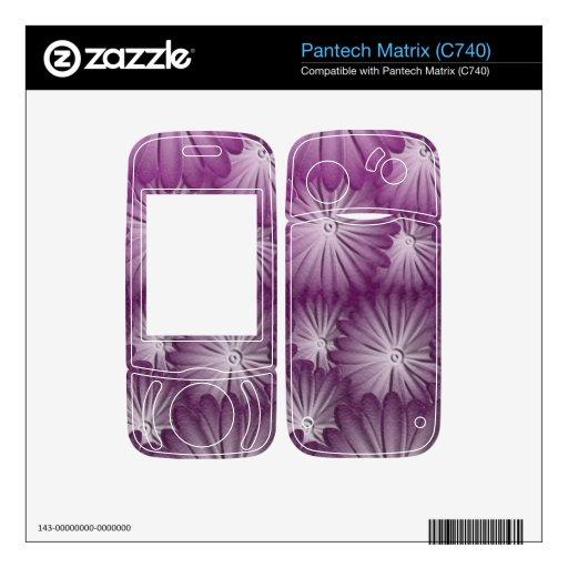 Leather purple flowers pantech matrix skin
