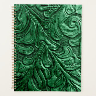Leather Purse Green Embossed Planner
