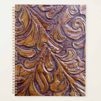 Leather Purse Tan Embossed Planner