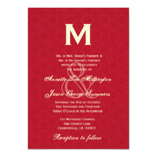 Leather Red and Cream Monogram Wedding R431 Card