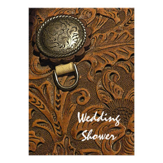Leather Saddle Country Wedding Shower Invitation