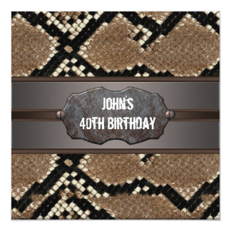 Leather Snake Skin Birthday Party Card