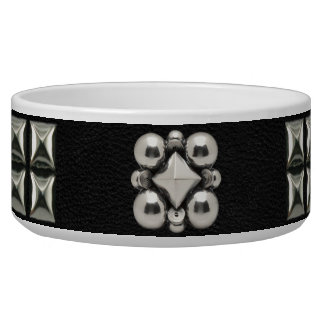 Leather Studded Collar in Black Pet Water Bowl