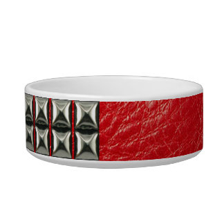 Leather Studded Collar in Red Pet Food Bowl